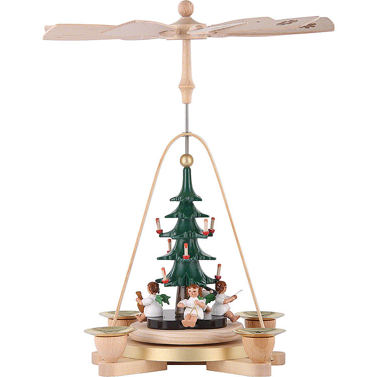 1 - Tier Pyramid  -  Angel with Christmas Tree  -  25cm / 9.8 inch