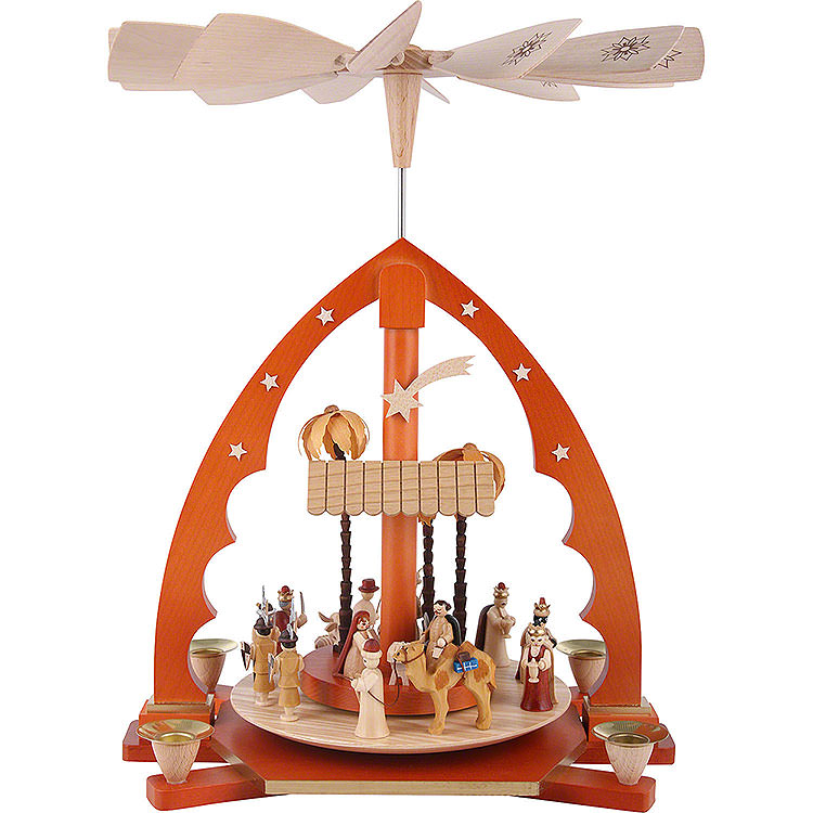1 - Tier Pyramid  -  Nativity Scene Natural Wood  -  40cm / 16 inch