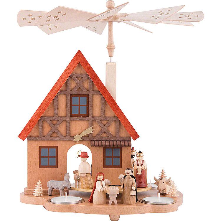 1 - Tier Table Pyramid House Nativity  -  29cm / 11.4 inch