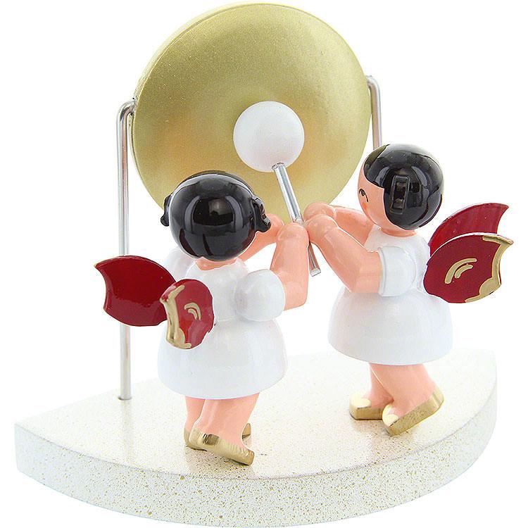 2 Engel am großen Gong passend zu Wolkenstecksystem  -  Rote Flügel  -  stehend  -  6cm