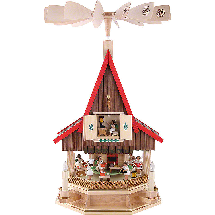 2 - stöckiges Adventshaus Engelsbäckerei elektrisch von Richard Glässer  -  53cm