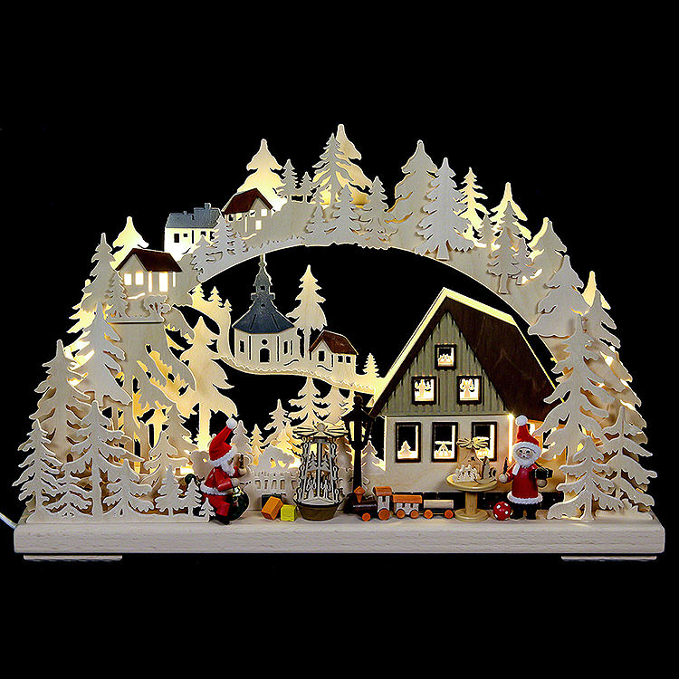 3D Double Arch  -  Santa Claus Workshop  -  43x30x7cm / 17x11x3 inch
