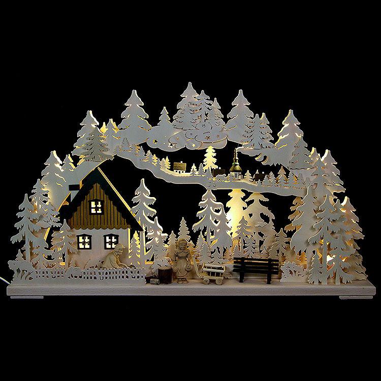 3D - Schwibbogen Altseiffener Handwerk mit geschnitzten Figuren  -  72x43x8cm