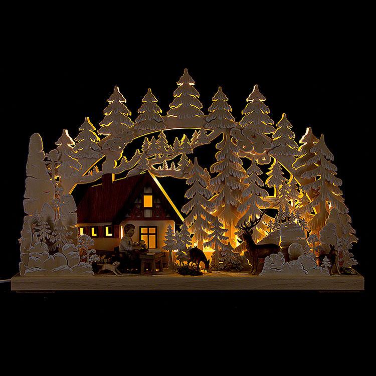 3D - Schwibbogen Berghütte mit Schnitzer  -  72x43cm