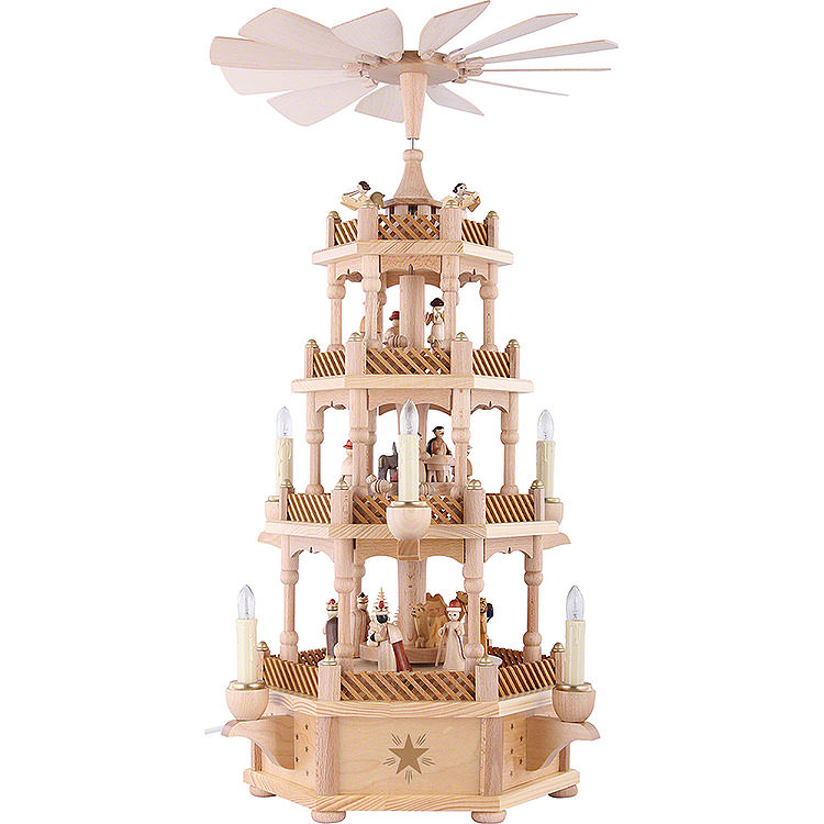 4 - stöckige Pyramide Christi Geburt natur  -  59cm