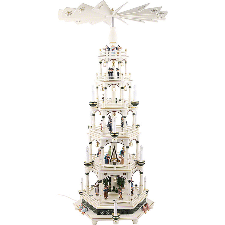6 - Tier Pyramid  -  White - Green, Electric  -  106cm / 41.7inch  -  220V Motor