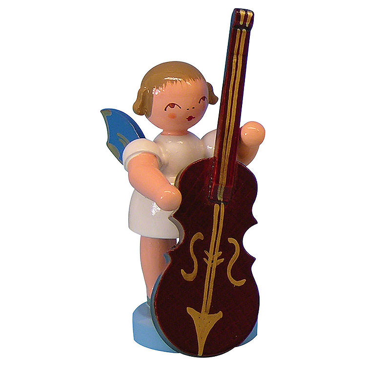 Angel with Plucked Bass  -  Blue Wings  -  Standing  -  6cm / 2,3 inch