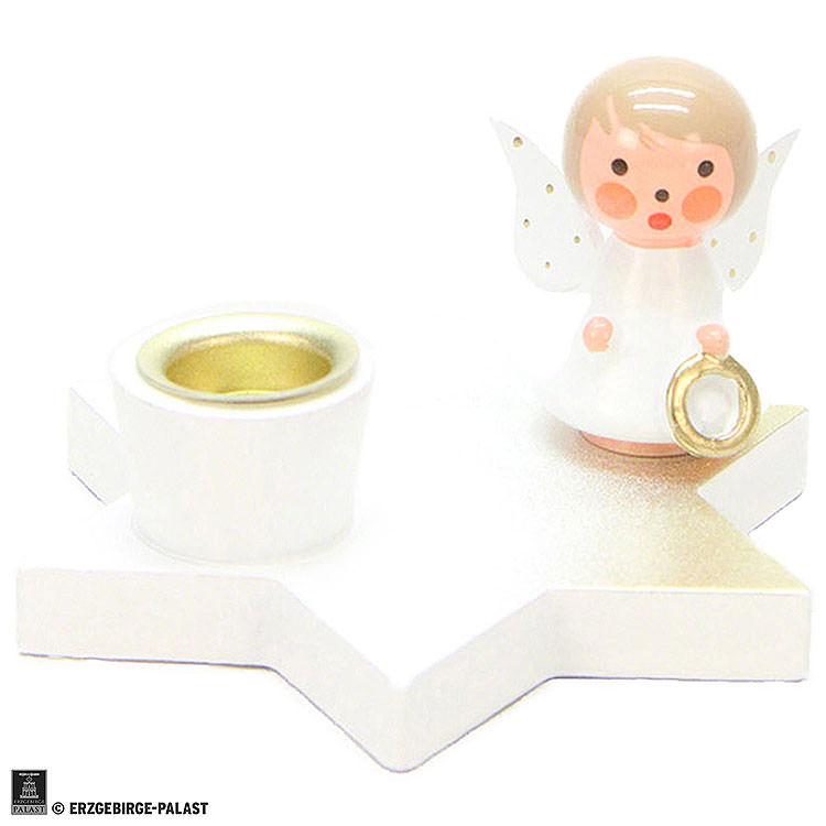 Candle Holder  -  Angel on Star  -  White  -  3cm / 1.2 inch