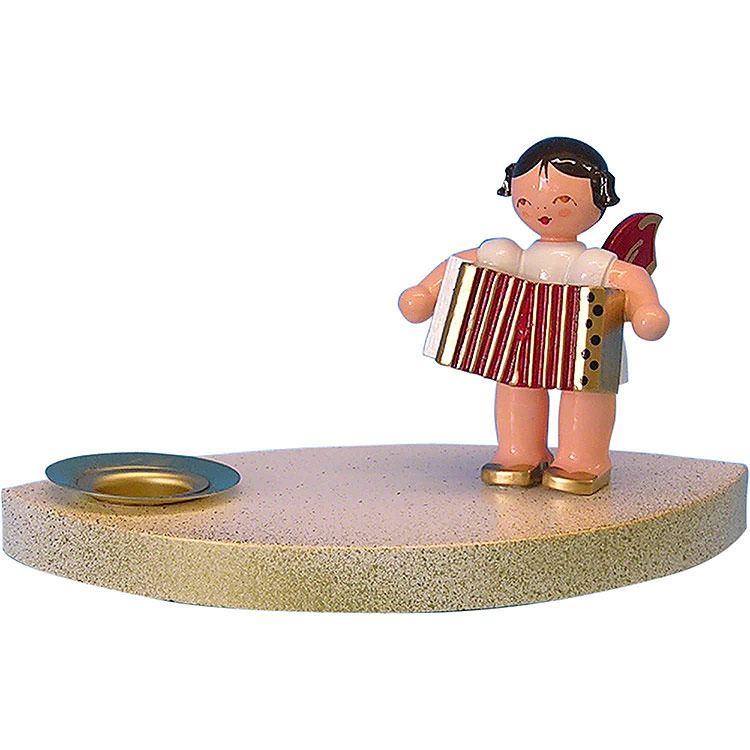 Candle Holder  -  Angel with Accordion  -  7cm / 2.8 inch