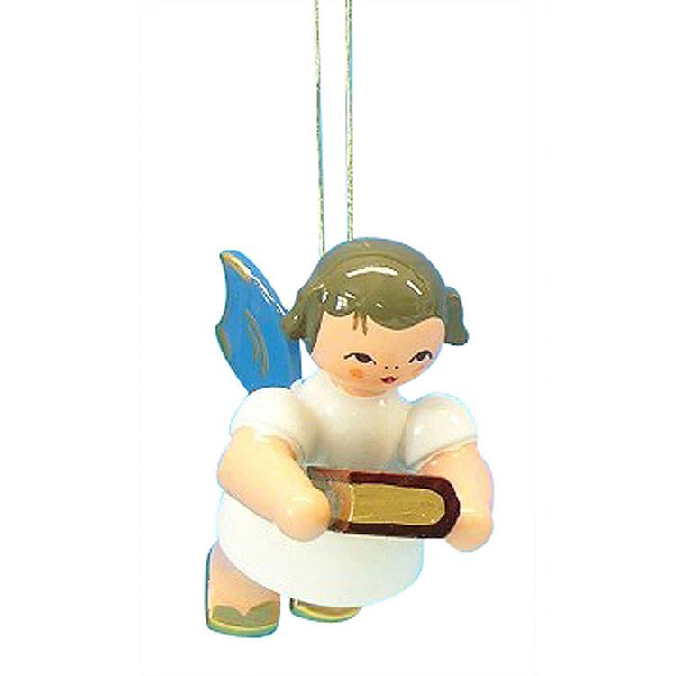 Christbaumschmuck Engel mit Bibel  -  Blaue Flügel  -  schwebend  -  6cm