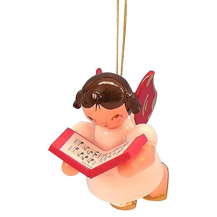 Christbaumschmuck Engel mit Buch  -  Rote Flügel  -  schwebend  -  5,5cm