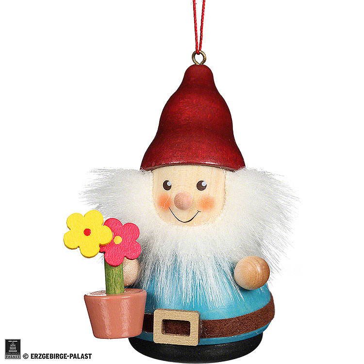 Christbaumschmuck Wackelmännchen Zwerg mit Blumentopf  -  8cm