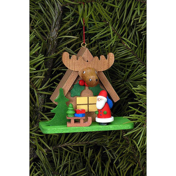 Christbaumschmuck Waldhaus mit Weihnachtsmann  -  7,1x6,2cm
