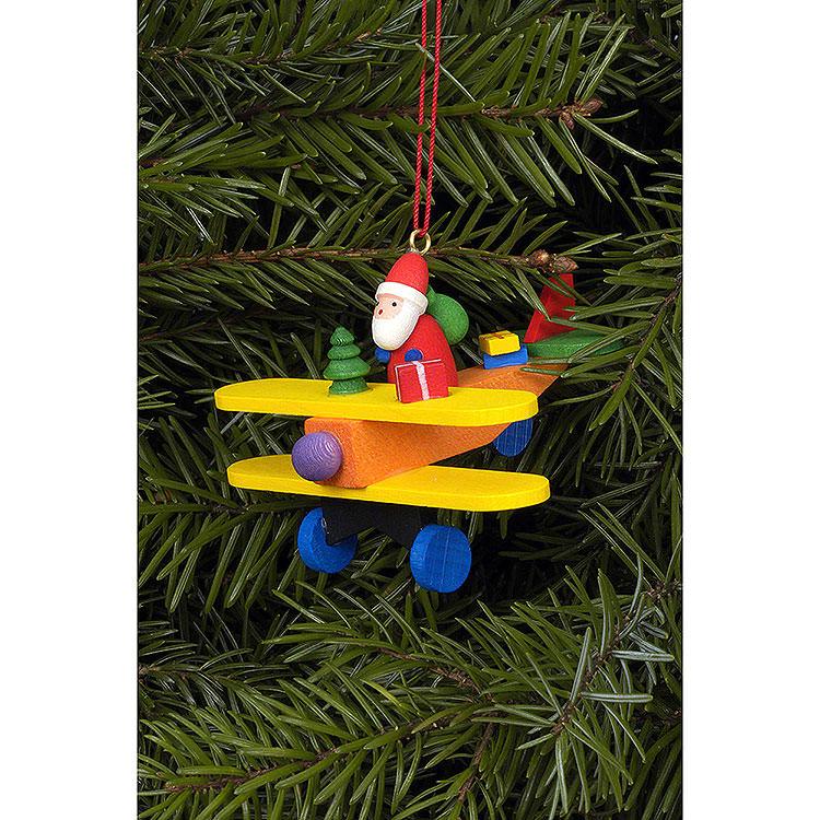 Christbaumschmuck Weihnachtsmann auf Flieger  -  6,8x4,8cm