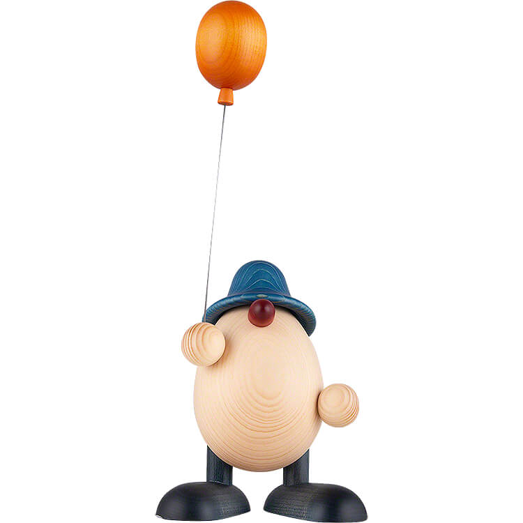 Egghead Father Otto with Balloon, Blue  -  15cm / 5.9 inch