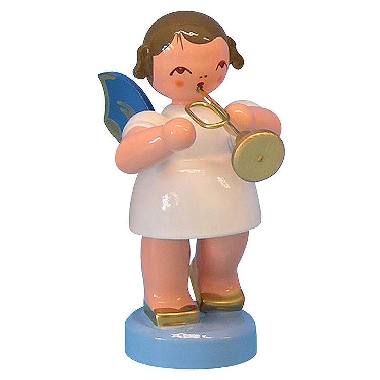 Engel mit Trompete  -  Blaue Flügel  -  stehend  -  6cm
