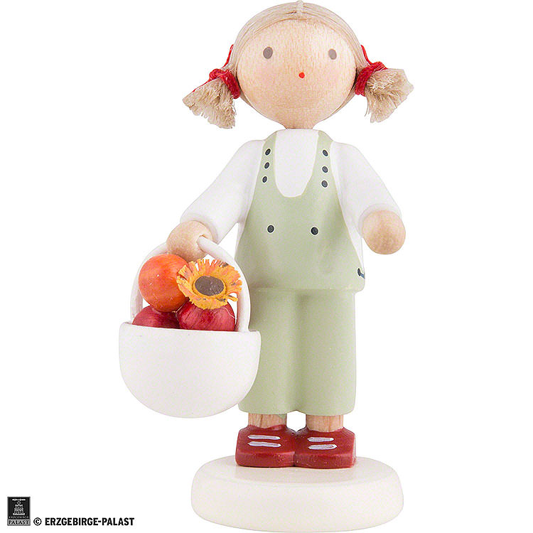 ebca16599b Flachshaarkinder Mädchen mit Apfelkorb - ca. 5cm