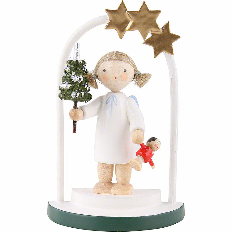 Flax Haired Angel in a Star Arch  -  5cm / 2 inch