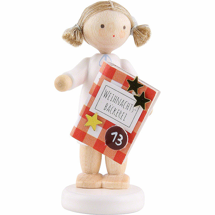 Flax Haired Angel with Bakery Book (13)  -  5cm / 2 inch