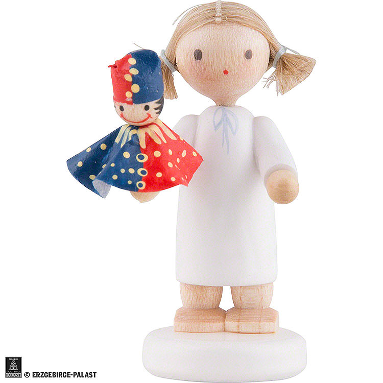 Flax Haired Angel with Punch  -  5cm / 2 inch