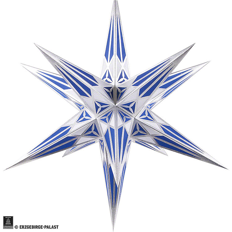 Hartenstein Christmas Star for Inside Use  -  White - Blue with Silver  -  68cm / 27 inch