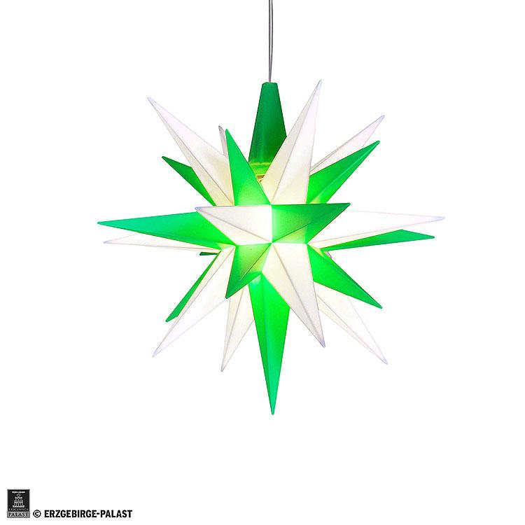 Herrnhuter Stern A1e weiß/grün Kunststoff  -  13cm