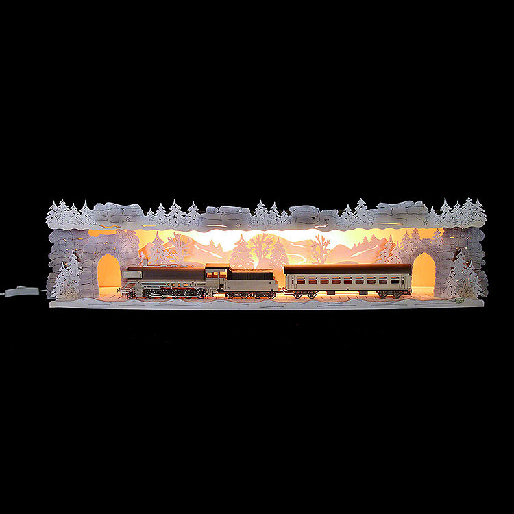 Illuminated Stand 'Train Ride Through the Ore Mountains' with White Frost for Candle Arches  -  75x20x15cm / 29.5x7.9x5.9 inch
