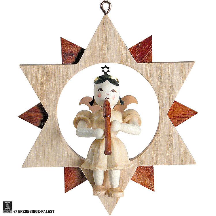 Kurzrockengel mit Blockflöte im Stern, natur  -  9cm