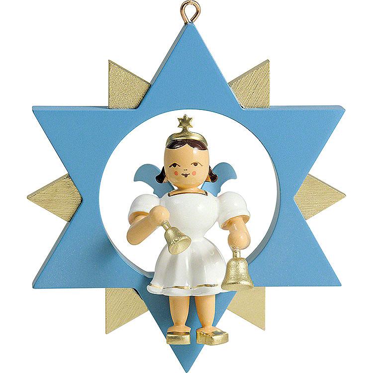 Kurzrockengel mit Glocken im Stern, farbig  -  9cm