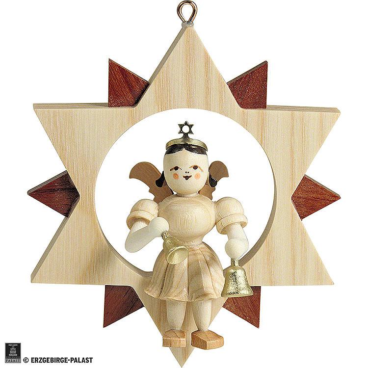 Kurzrockengel mit Glocken im Stern, natur  -  9cm