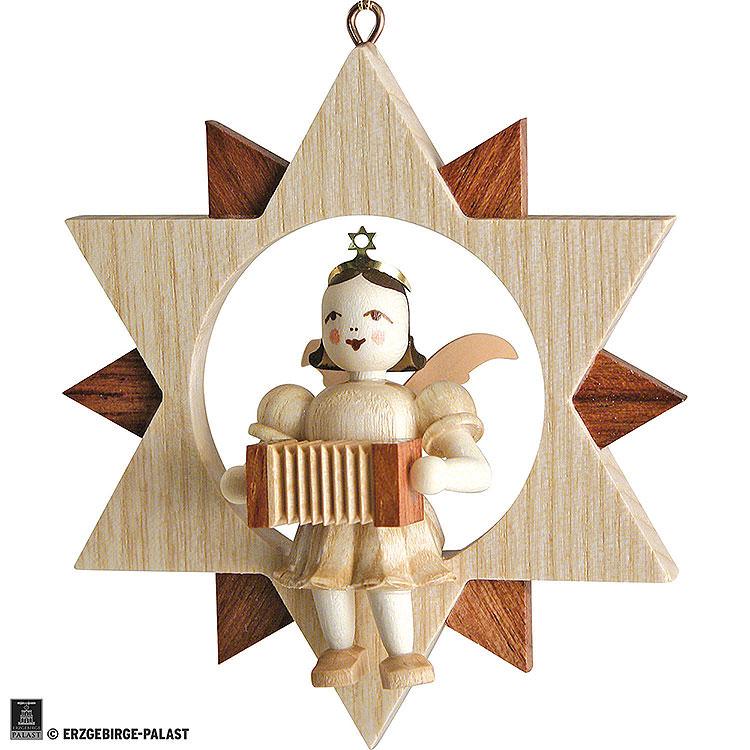 Kurzrockengel mit Harmonika im Stern, natur  -  9cm