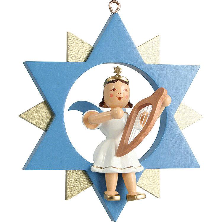 Kurzrockengel mit Leier im Stern, farbig  -  9cm