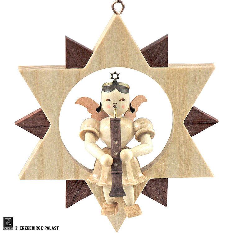 Kurzrockengel mit Oboe im Stern, natur  -  9cm