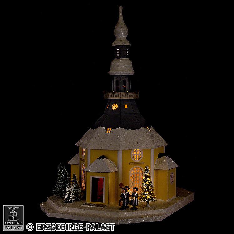 Lichterhaus Seiffener Kirche mit Kurrende und Weihnachtsbaum  -  42cm
