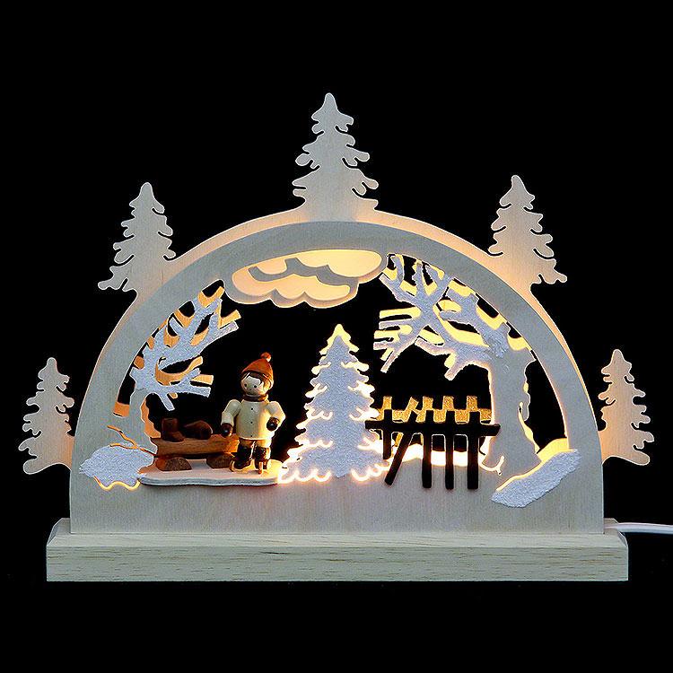 Mini - LED - Schwibbogen Schlittschuhläufer  -  23x15x4,5cm