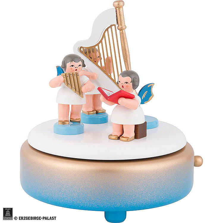 Music Box with Angels and Harp  -  14cm / 5.5 inch