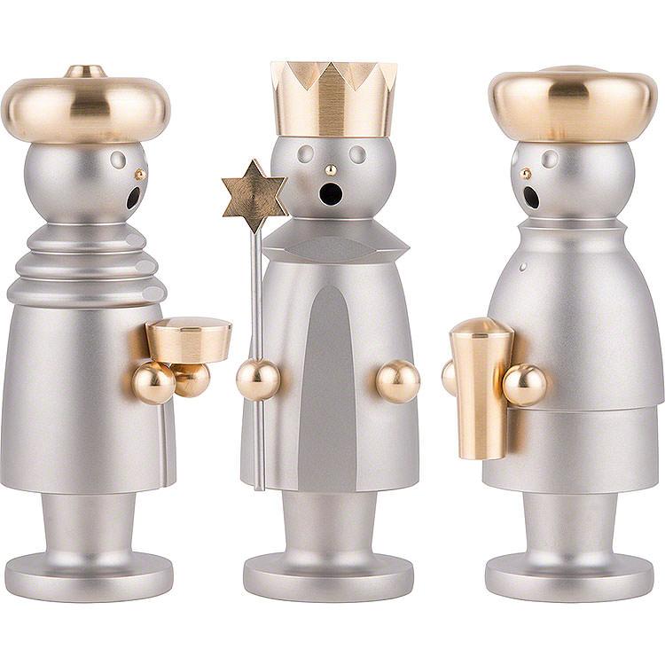 Räuchermännchen Die heiligen drei Könige  -  Edelstahl, glasperlengestrahlt  -  15cm