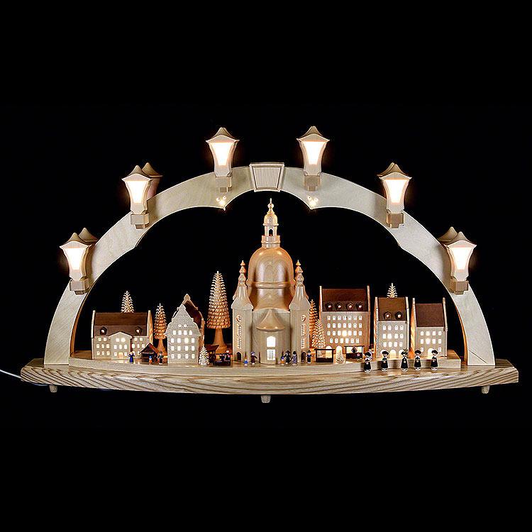 Schwibbogen Frauenkirche mit Strietzelmarkt  -  80x43cm