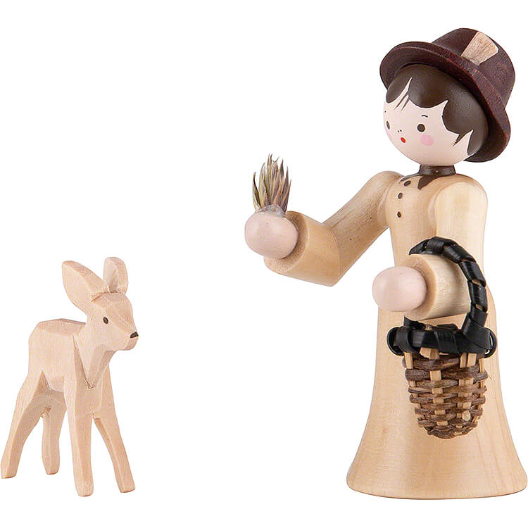 Thiel Figurine  -  Forester Lady with Deer  -  natural  -  6cm / 2.4 inch