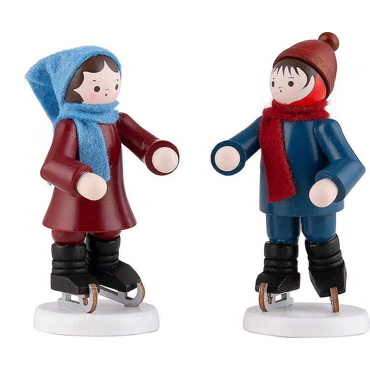 Thiel Figurine  -  Ice Skate Children Couple  -  coloured  -  7cm / 2.8 inch