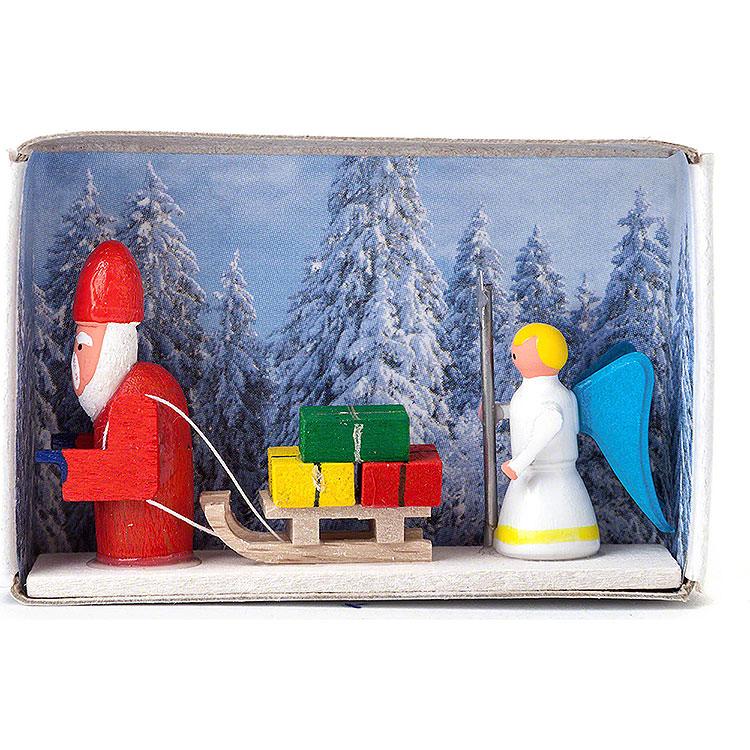Zündholzschachtel Weihnachtsmann mit Christkind  -  4cm