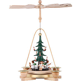 1 - Tier Pyramid  -  Angel with Christmas Tree  -  28cm / 11 inch