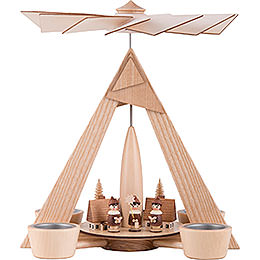 1 - Tier Pyramid  -  Carolers Seiffen Natural  -  29cm / 11.2 inch