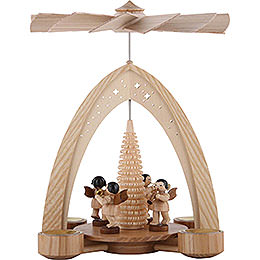1 - Tier Pyramid  -  Four Angels Natural with Wind Instruments  -  35x26,2x22,8cm / 13.8x10.2x9.1 inch