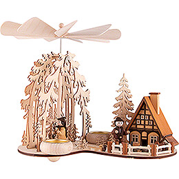 1 - Tier Pyramid  -  Glade with Smoking House and Forest People  -  24cm / 9.4 inch