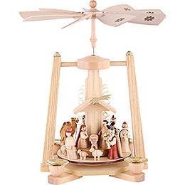 1 - Tier Pyramid  -  Nativity Scene  -  Natural Wood  -  29cm / 11 inch