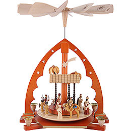 1 - Tier Pyramid  -  Nativity Scene Natural Wood  -  40cm / 16 inch