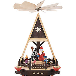 1 - Tier Pyramid  -  Santa with Children  -  33cm / 13 inch