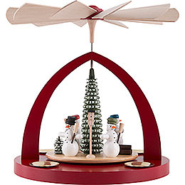 1 - Tier Pyramid  -  Snowmen, Ruby Red  -  23cm / 9 inch