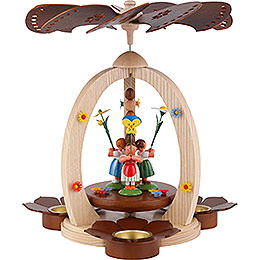 1 - Tier Pyramid with Flower Children  -  Natural Wood  -  32cm / 12.6 inch